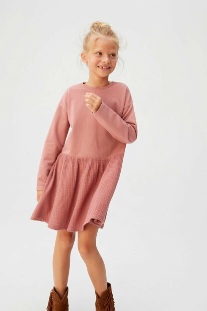 Pink Girls' Contrast Woven Dress 53053776