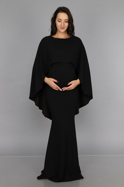 Maternity Dress with Capes Black ML010700X