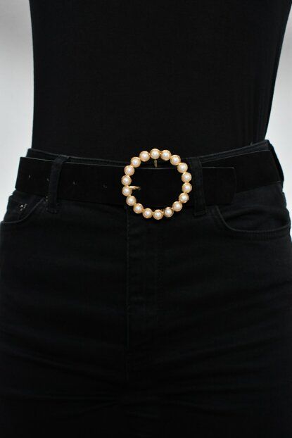 Women's Gold Suede Belt with Pearl BE201