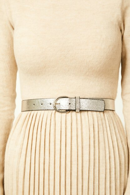 Women's Silver Buckle Shiny Belt ZK00239