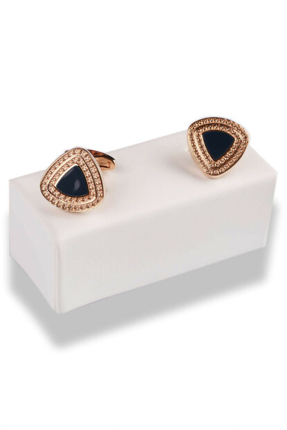 Navy Blue - Copper Color Triangle Cufflinks KD494