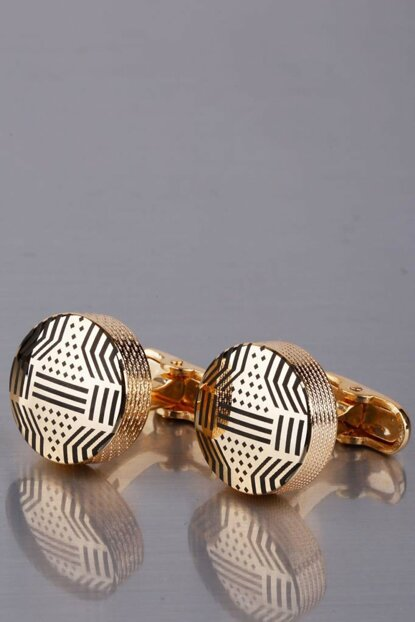 Men's Gold Color Round Cufflink KD1022 KRVT8690002224502