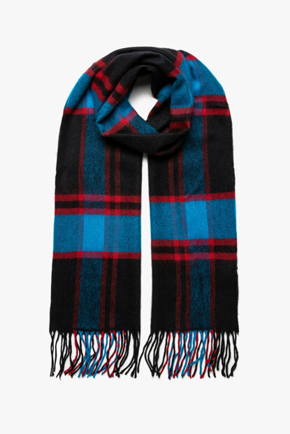 Men's Navy Blue Plaid Scarf 9KAM55309AA