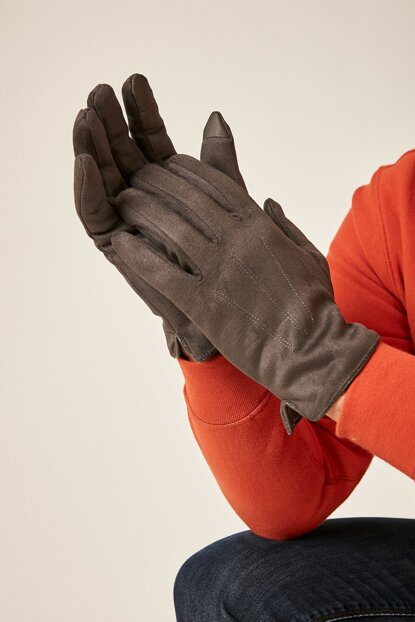 Men's Suede Gray Gloves ELD-859