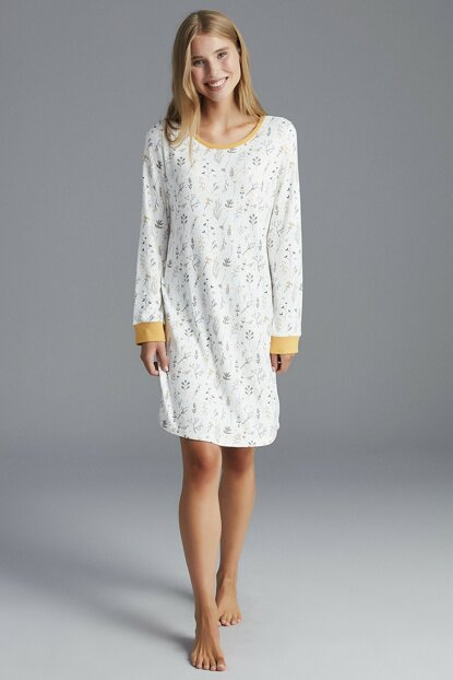 Women's Broken White Fall Leaves Thermal Nightgown PNOYIOKU19SK-OWH