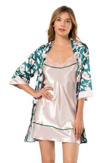 Women's Patterned 2-Piece Dressing Gown Satin Nightwear Set 2225