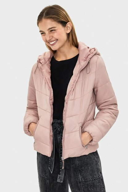 Women's Pink Hooded Inflatable Coat 06210644