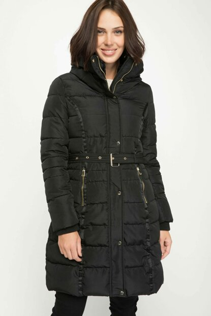 Women's Black Belt Detailed Long Coat I9451AZ.18WN.BK27
