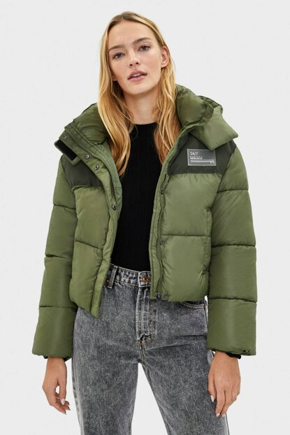 Women's Khaki Hooded Fluffy Sweatshirt 06287085
