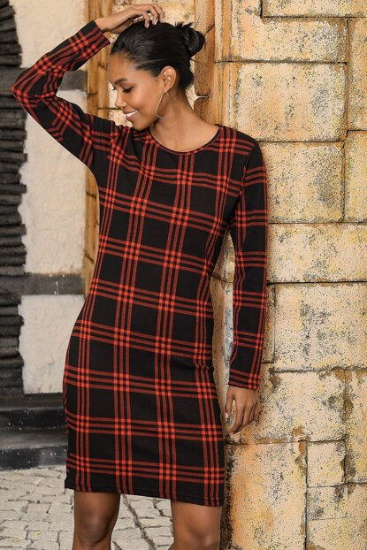 Women's Red Bike Neck Plaid Dress ALC-X3129