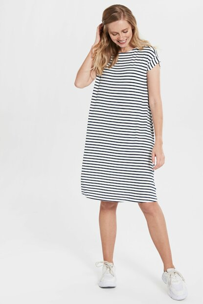 Women's White Striped Dress 0S5161Z8