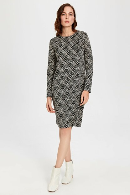 Women Ecru Jacquard Dress 9WY419Z8