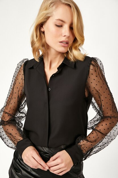 Women's Black Mini Polka Dot Organza Tulle Sleeve Crep Shirt DD00370 DD00370