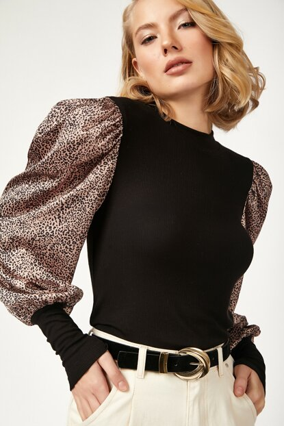 Women's Black Leopard Balloon Sleeve Satin Blouse BL00149