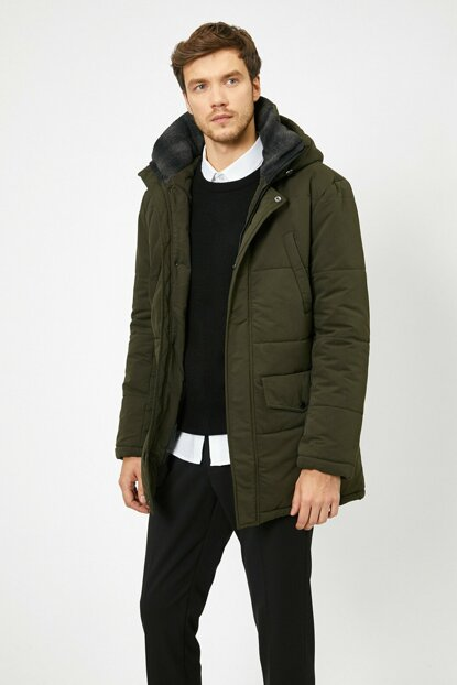 Men's Green Hooded Inflatable Coat 0KAM01795HW