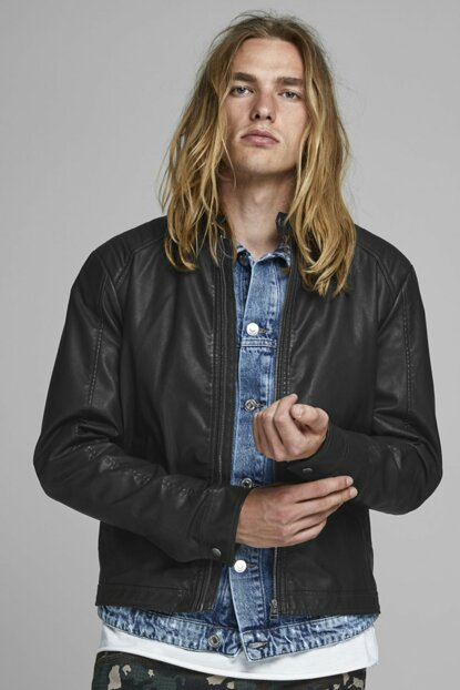 Jack Jones Leather Jacket New Originals Biker 12159002-BLK