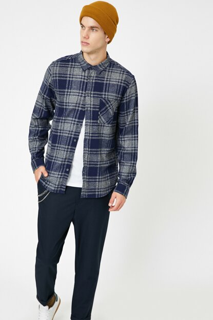 Men's Navy Blue Plaid Shirt 0KAM64844OW
