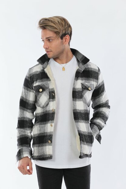 Men's Fur Lumberjack White Jacket CKT5893Be
