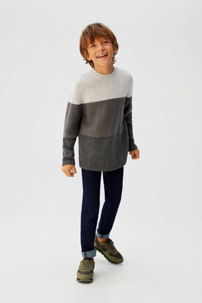 Medium Flecked Gray Boy Tricot Knit Sweater 57028253