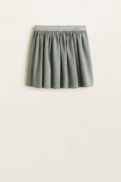 Medium Flecked Gray Girl's Metallic Detailed Skirt 53070842