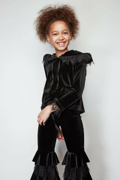Girls' Black Pullover 19FWTSB0009