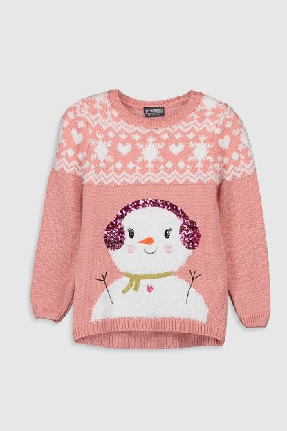 Girl's Pink Pink Sweater Pullover 9WH179Z4