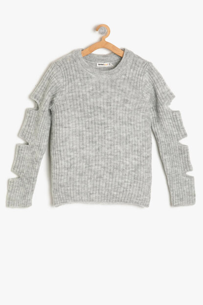 Gray Girl Sweater Detailed Sleeve 9KKG97167OT