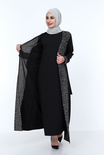 Hijab Abaya Sequined Double Gilet & Jacket Combine MHM1750