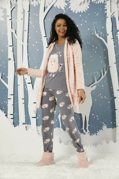 Women's Patterned 3-Piece Embroidered Wellsoft Dressing Gown Interlock Suit 19254026