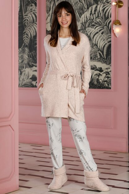 Women's Pink Poet Sweater Dressing Gown Combed Pajama Set 19081-B317