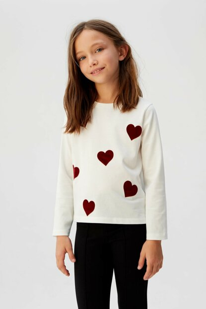 Off White Girls' Velvet Heart T-Shirt 53055018
