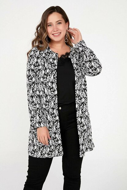 Women's Black Patterned Bag Pockets Lycra Long Jacket Black S-20K3690010