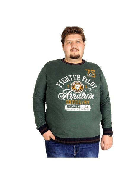 Plus Size Men's Green Sweatshirt 18135nef-4XL