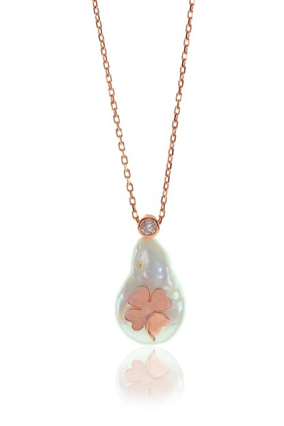 Women Baroque Pearl Clover Pattern Necklace SGTL8021