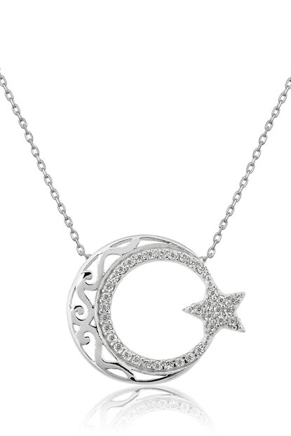 Women's Authentic Motif Moon Star Model Zircon 925 Sterling Silver Necklace P475