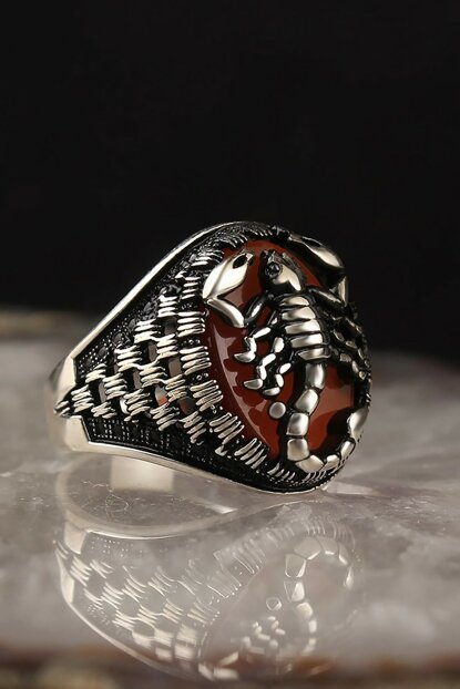 Agate Zirkon Scorpion Model 925 Sterling Silver Men Ring EGYT-071