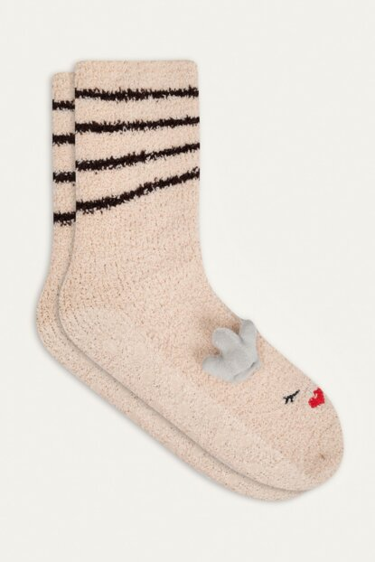 Women's Beige Deer Christmas Themed Socks 353802