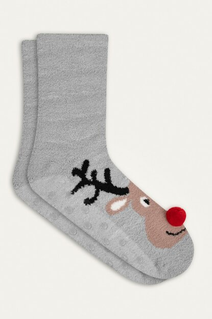 Women's Gray Deer Patterned Socks 353935