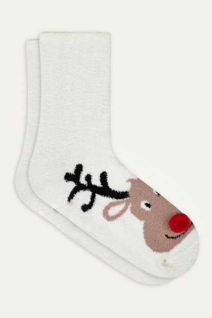 Women's White Deer Patterned Socks 353935