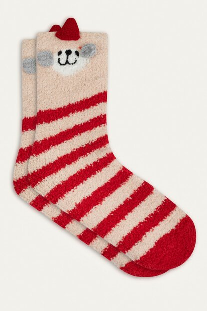 Women's Multi Color Striped Christmas Themed Socks 353799