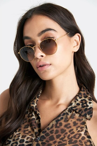 Gold Metal Frame Small Round Unisex Sunglasses Brown 6316