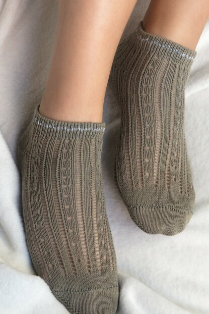 Souffle Booties Socks - Khaki 1KCORP0141-8682116111669