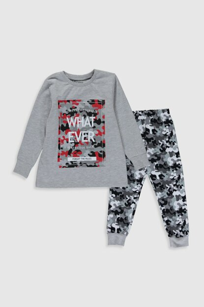 Boy Gray Printed Lrw Pajamas Set 0S2185Z4