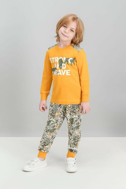Brave Tiger Apricot Boys Pajamas Set RP1504-C-V2
