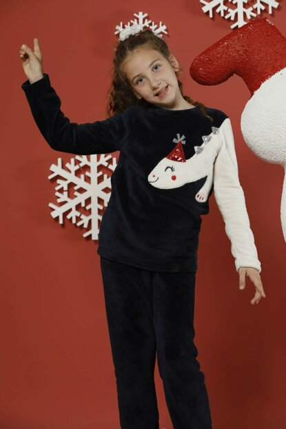 Girl Kids Navy Blue Embroidered Bottom Top Wellsoft Pajamas Suit 19256500