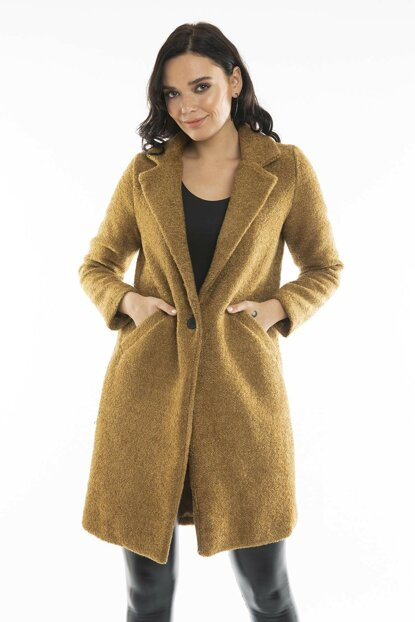 Women's Camel Single Button Coat 6495