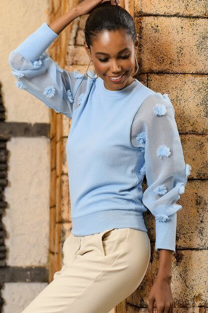 Women's Blue Organza Balloon Sleeve Lycra Sweater ALC-X3010