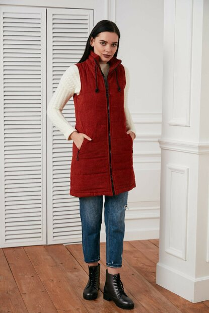 Women's Tile Zippered Velvet Vest 19603