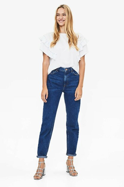 Women's Blue High Waist Mom Fit Jean 00029352