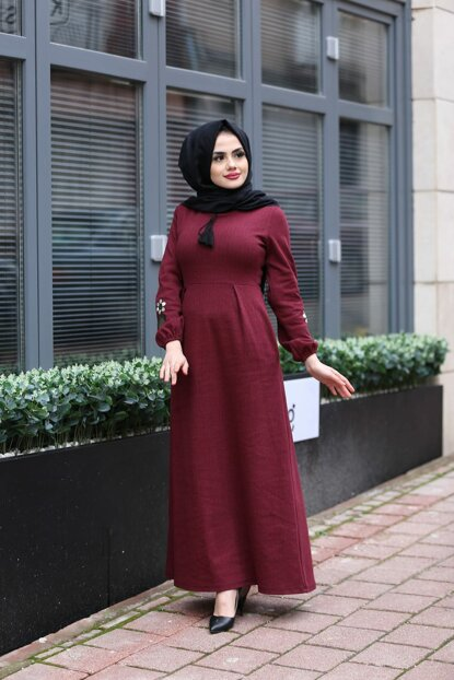 Women's Burgundy Dress 01918KBELB03015